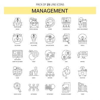 Management-linie-ikonen-set - 25 gestrichelte entwurfs-art