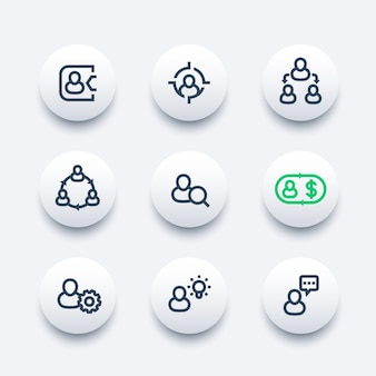 Management, personal, hr, linie icons set