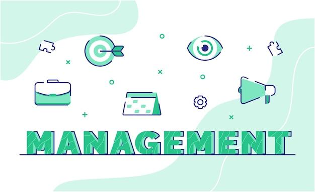 Management-typografie-wortkunsthintergrund des symbolkoffers
