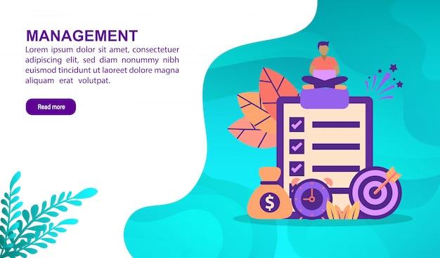 Managementillustrationskonzept mit charakter. zielseitenvorlage