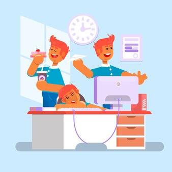 Manager. angestellter, büroangestellter, büroangestellter. ein manager sitzt auf dem stuhl, seine füße auf dem tisch, pfeifend und im leerlauf. müder geschäftsmann bei der arbeit. büroangestellter, der hinter seinem schreibtisch schläft. vektor-illustration