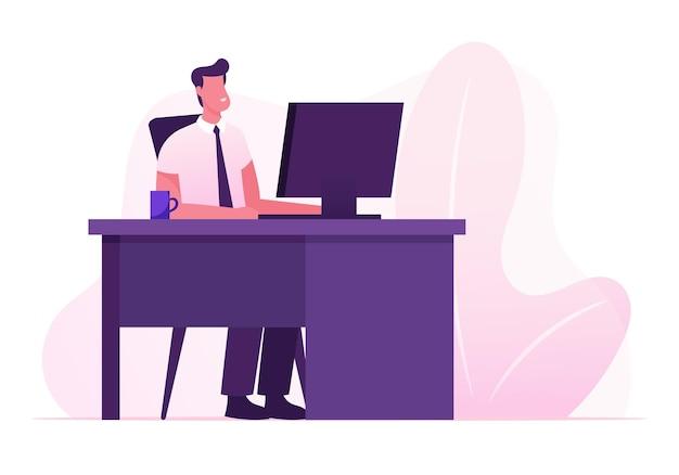 Manager beruf, job. geschäftsmann, der am personalcomputer am büroarbeitsplatz arbeitet. karikatur flache illustration