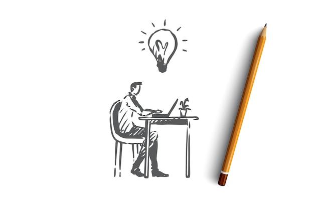 Manager, büro, arbeit, person, computerkonzept. hand gezeichneter manager, der im büro mit computerkonzeptskizze arbeitet. illustration.