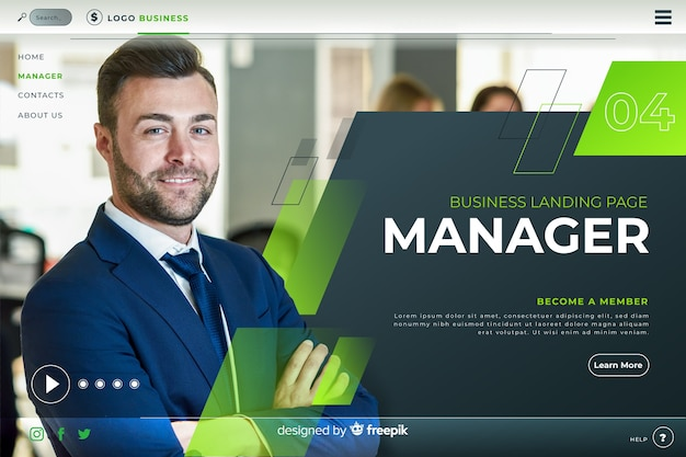 Manager business landing page