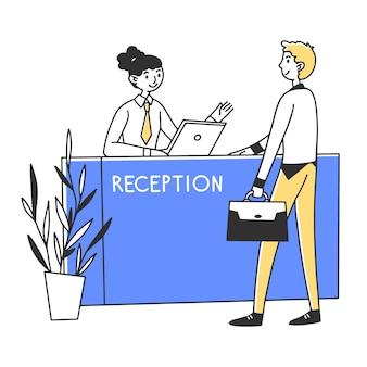 Manager, der dienstleistungen für den kunden erbringt
