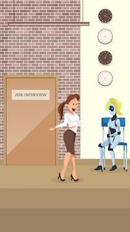 Manager fragen weiblichen roboter zum büro-vorstellungsgespräch