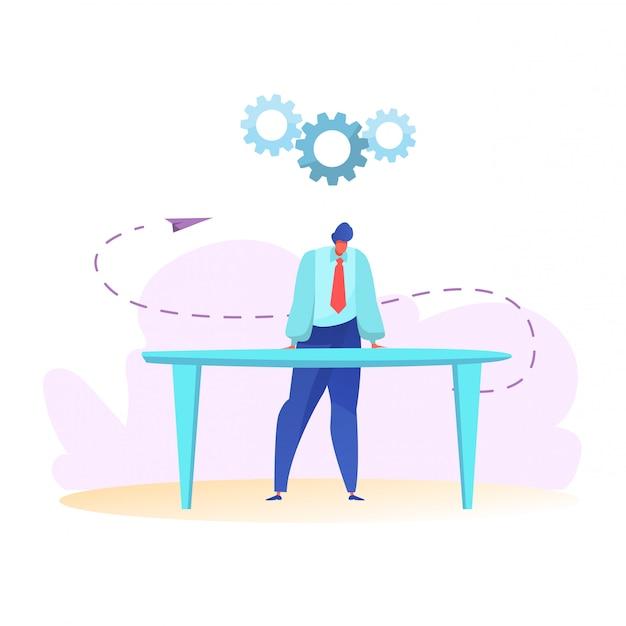 Manager in der nähe von tisch denken. finanzplanung und budgets