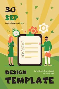 Manager mit aufgabenliste. mitarbeiter stehen an checkliste und timer und machen daumen hoch flache flyer-vorlage