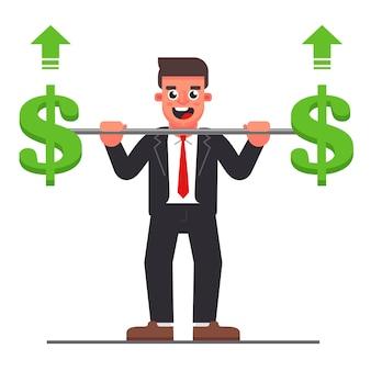 Manager mit einer langhantel mit einem dollarsymbol. steigerung des unternehmensgewinns. flache charakter-vektor-illustration.