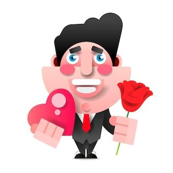 Manager oder geschäftsmann mit blumen und geschenk. alles gute zum geburtstag, valentinstag. vektor-illustration im papierstil.