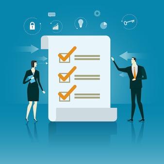 Manager-prüfliste geschäftskonzept der erfolg vektor-illustration.