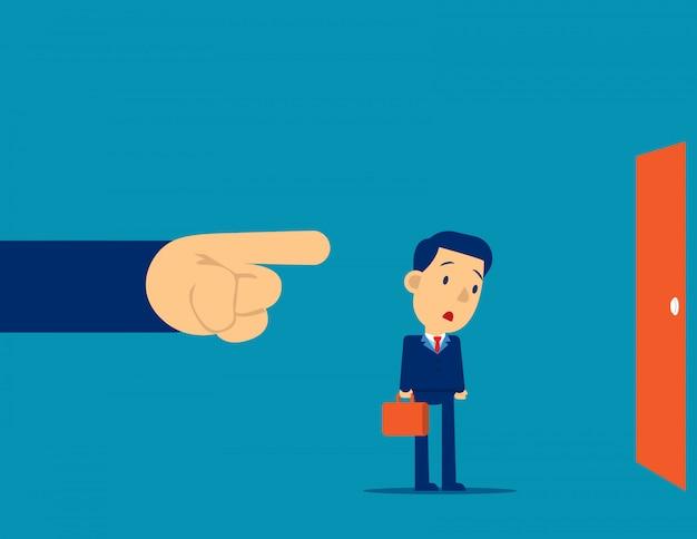 Managerfinger, der die ausgangstür zeigt