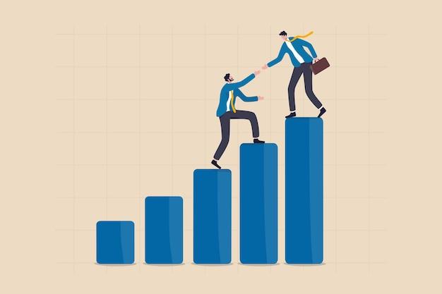 Managerunterstützung, um das ziel zu erreichen, mentor oder coaching zum erfolg bei der arbeit, vertrauenswürdige partnerschaft oder teamzusammenarbeitskonzept, erfolgsgeschäftsmann-unterstützungsteammitglied, das hand gibt, um das ziel zu erreichen.