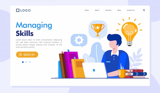 Managing skills landing page website illustration