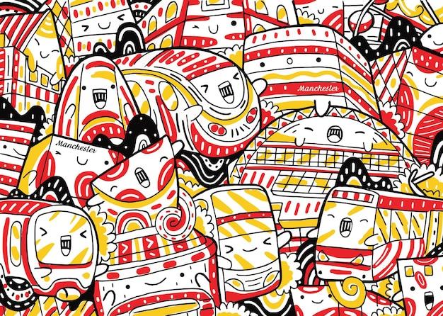 Manchester-stadtbild-doodle im flachen design-stil