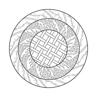 Mandala-design-element symmetrisches rundes ornament abstrakter doodle-hintergrund malvorlagen