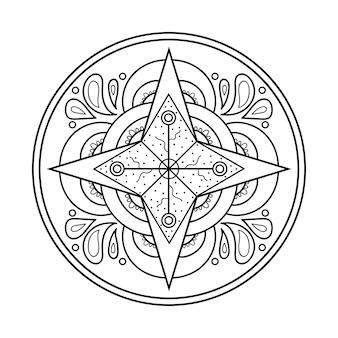 Mandala-design-element symmetrisches rundes ornament abstrakter doodle-hintergrund vektor-illustration