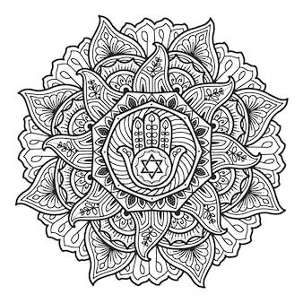 Mandala design. hamsa-symbol