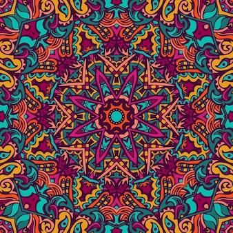 Mandala doodle linien. abstraktes geometrisches gekacheltes ethnisches nahtloses boho-muster. hand gezeichnetes hipster-gewirr