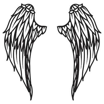 Mandala-engelsflügel für gestaltungselement, gravur, scherenschnitt, druck oder malbuch. vektor-illustration.