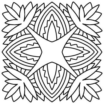 Mandala fliesendesign. malbuchseite. Premium Vektoren