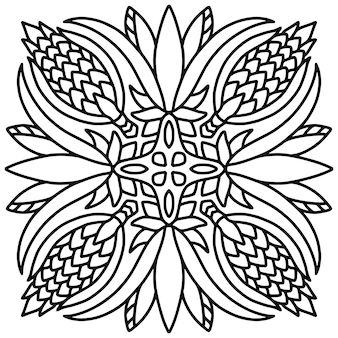 Mandala fliesenverzierung. malbuchseite.