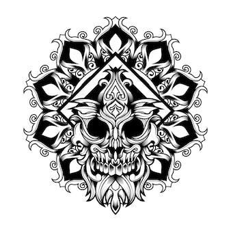 Mandala flower skull vector-illustration