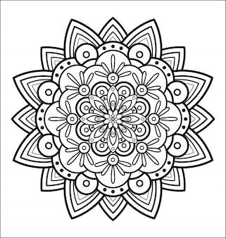 Mandala für malbuch, abstrakte blume dekorative runde verzierung, anti-stress-therapie