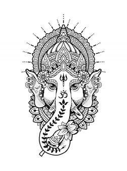 Mandala ganesha kopf malbuch