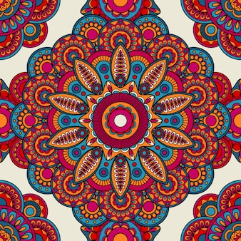 Mandala-gekritzel farbiges nahtloses muster