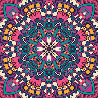 Mandala gekritzelblume. abstraktes geometrisches nahtloses muster