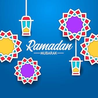 Mandala geometrischen hintergrund rahmen flache fanous laterne für ramadan