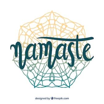 Mandala hintergrund mit namaste schriftzug