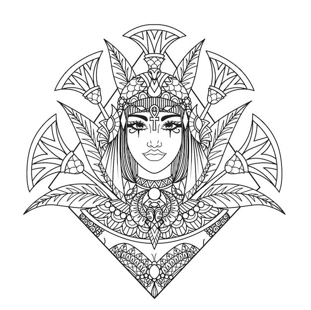 Mandala-kunst kleopatra-kopfillustration für erwachsenes malbuch, laserschnitt, papierschneiden, gravieren, drucken auf produkt. vektor-illustration.