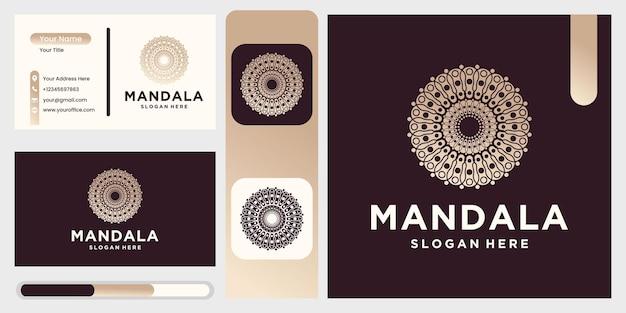 Mandala-logo-design-vorlage, abstraktes symbol im mandala-stil, emblem für luxusprodukte, hotels, boutiquen, schmuck, orientalische kosmetik