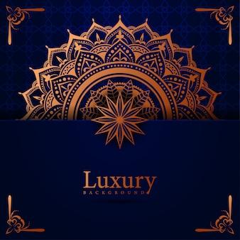 Mandala luxury-hintergrund mit islamischer ostart der goldenen arabeske