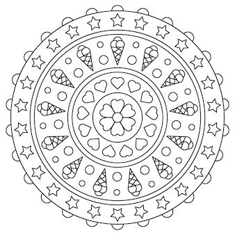 Mandala. malvorlagen. schwarz und weiß