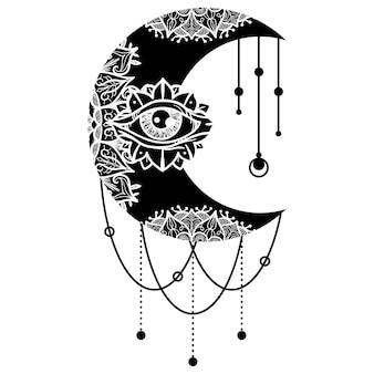 Mandala mit ethnischem maskottchen des dritten auges. symbol für die kontur des halbmonds. zentangle-ornament. dünne linie anpassbare illustration. vektor isolierte umrisszeichnung.