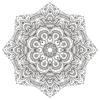 Mandala mit handgezeichneten floralen henna-elementen. Premium Vektoren