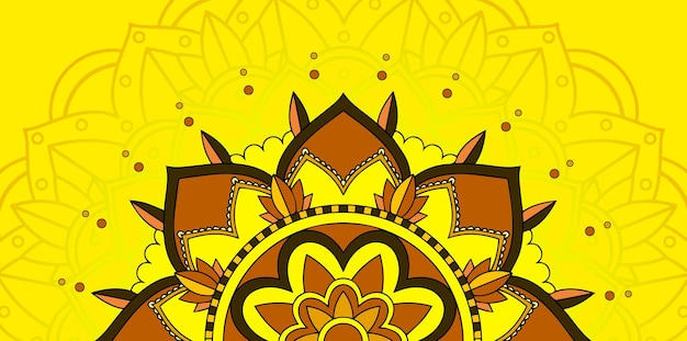 Mandala-muster auf gelbem hintergrund