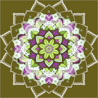 Mandala-muster auf grünem hintergrund