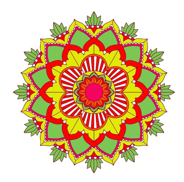 Mandala-muster auf isoliertem hintergrund