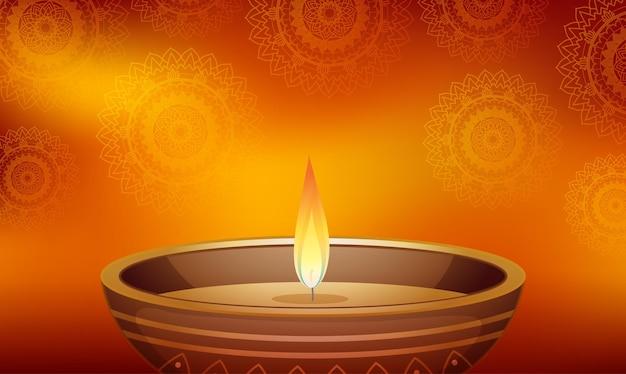 Mandala-muster-hintergrund mit kerzenlicht