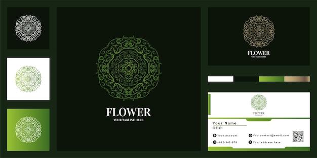Mandala- oder ornament-luxus-logo-vorlagendesign mit visitenkarte. Premium Vektoren