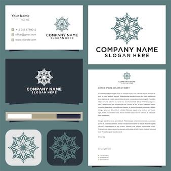 Mandala-ornament-blumen-vektor-logo-design und visitenkarte