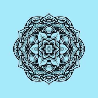 Mandala ornament mit gravurstil
