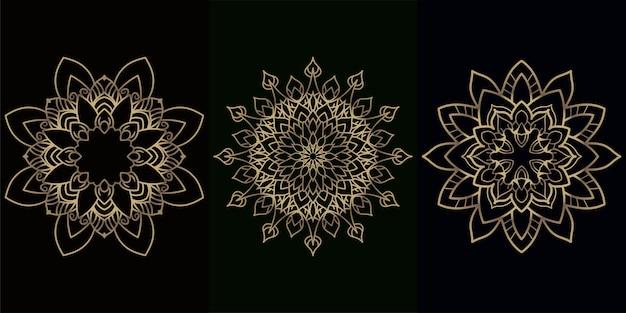 Mandala ornament oder blumenhintergrundsatzsammlung.
