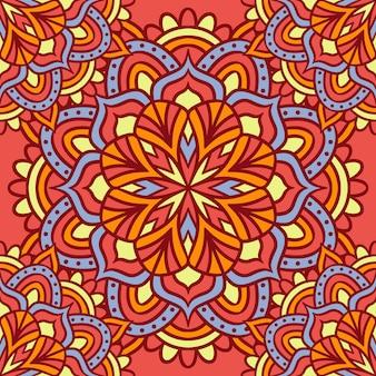 Mandala runde ornament nahtlose muster, ethnische blumenmuster, vintage dekorative elemente