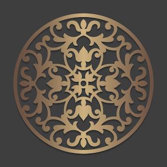 Mandala rundes verzierungsmuster. verziertes schablonenkreiselement. kreisförmiges silhouette-muster für laserschneid- oder stanzmaschinen. orientalische hölzerne abziehbildschablone.
