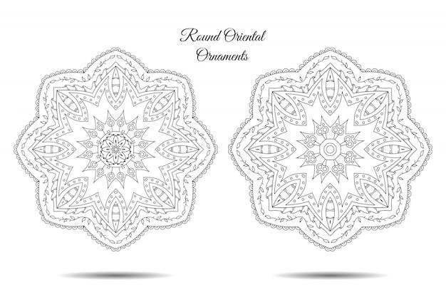 Mandala symmetrische illustrationen gesetzt